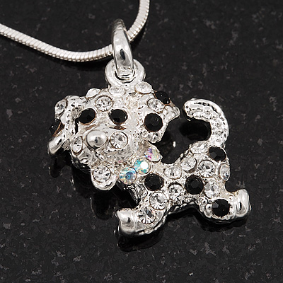Crystal &#039;Puppy&#039; Pendant Necklace In Silver Plated Metal - 42cm Length
