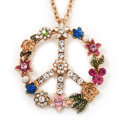 Long Multicoloured Diamante 'Peace' Pendant Necklace In Gold Metal - 80cm Length