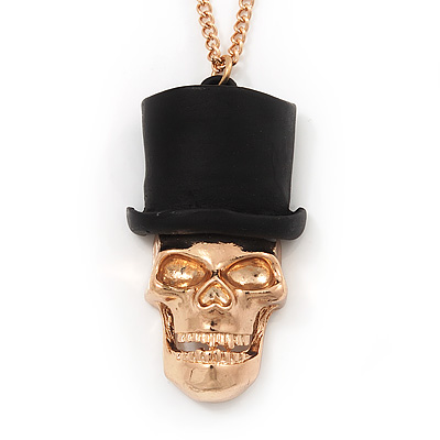 Gold Plated 'Skull In The Hat' Pendant Necklace - 60cm Length (6cm extension)
