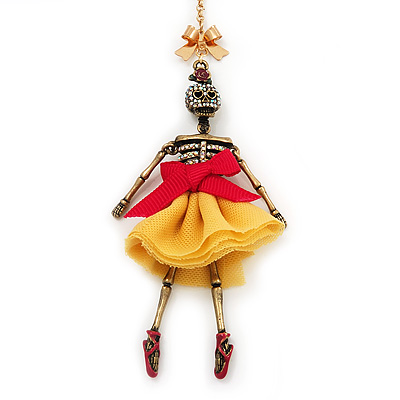 Funky Swarovski Crystal &#039;Skeleton Ballerina&#039; Pendant Necklace In Antique Gold Metal - 74cm Length (8cm extension)