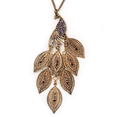 Long Exquisite 'Peacock' Pendant Necklace In Gold Plated Metal - 80cm Length (8cm extension)