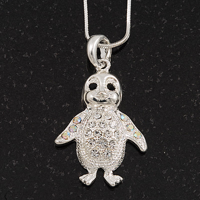 Diamante 'Penguin' Pendant Necklace In Rhodium Plated Metal - 40cm Length & 4cm Extension