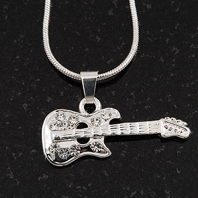 Silver Plated Diamante &#039;Guitar&#039; Pendant Necklace - 40cm Length (5cm extension)