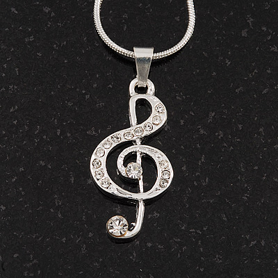 Silver Plated Diamante Treble Clef Pendant with Snake Type Chain - 40cm L/ 4cm Ext