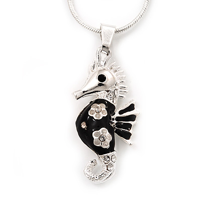 Small Black Enamel Diamante 'Seahorse' Pendant Necklace In Rhodium Plated Metal - 40cm Length & 4cm Extension