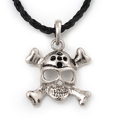 Silver Tone 'Skull & Crossbones' Pendant On Black Leather Style Cord Necklace - 40cm Length & 4cm Extension