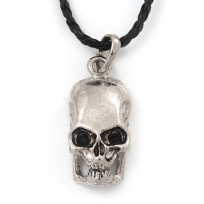 Silver Plated &#039;Predator Skull&#039; Pendant On Black Leather Style Cord Necklace - 40cm Length &amp; 4cm Extension