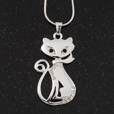Rhodium Plated Diamante &#039;Cat&#039; Pendant Necklace - 40cm Length &amp; 4cm Extension