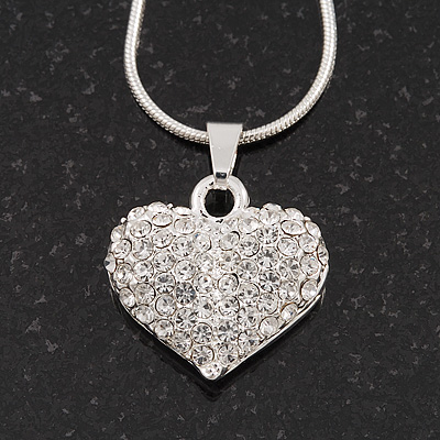 Small Clear Crystal Puffed 'Heart' Pendant Necklace In Rhodium Plated Metal - 40cm Length & 4cm Extension - main view