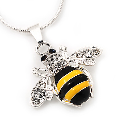 Small Cute 'Bee' Pendant Necklace In Rhodium Plated Metal - 40cm Length & 4cm Extension