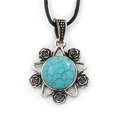 Burn Silver Turquoise Stone 'Flower' Pendant On Black Cotton Cord Necklace - 40cm Length/ 7cm Extension