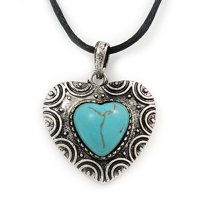 Burn Silver Turquoise &#039;Heart&#039; Pendant On Black Cotton Cord Necklace - 40cm Length/ 7cm Extension