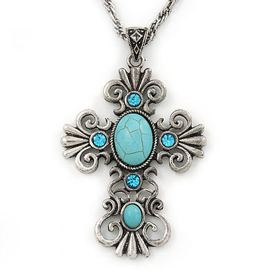 Antique Silver Turquoise Stone 'Cross' Pendant Necklace - 66cm L/ 3cm Ext