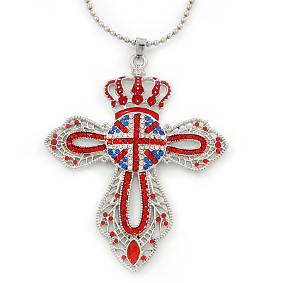 Long Swarovski Crystal Union Jack 'Cross' Pendant Necklace In Rhodium Plating - 80cm Length/ 5cm Extension