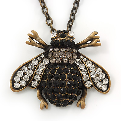 Long Vintage Diamante &#039;Bee&#039; Pendant Necklace In Bronze Finish - 76cm Length/ 3cm Extension