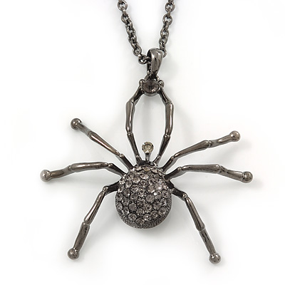 Shimmering Dim Grey Crystal Spider Pendant Necklace In Gun Metal - 60cm Length