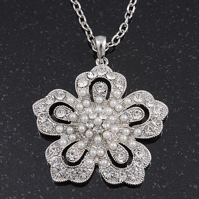 Long Crystal Pearl &#039;Flower&#039; Pendant In Rhodium Plating - 74cm Length/ 10cm Extension