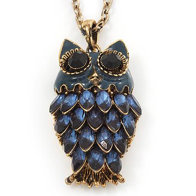 Long Blue Diamante Cute Owl Pendant In Antique Gold Plating - 70cm Length/ 10cm Extension