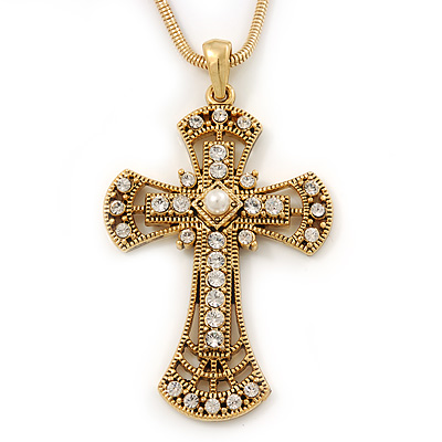 Caviar Pearl and Swarovski Crystal 'Crux Invicta' Statement Cross Pendant and Chain (Gold)