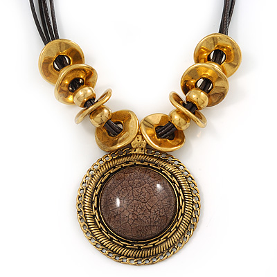 Vintage Cacao Brown &#039;Medallion&#039; Pendant Necklace On Leather Style Cords In Burn Gold Metal - 38cm Length/ 7cm Extension