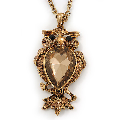 Long Champagne CZ &#039;Owl&#039; Pendant Necklace In Gold Plating - 72cm Length/ 7cm Extension