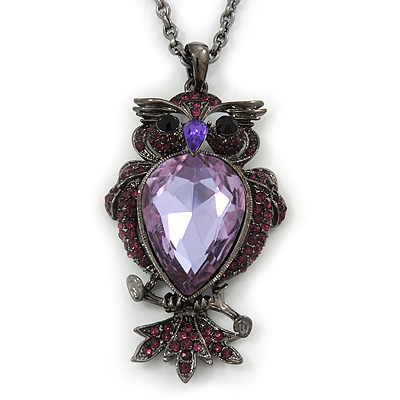 Long Amethyst CZ &#039;Owl&#039; Pendant Necklace In Black Tone Metal - 72cm Length/ 7cm Extension