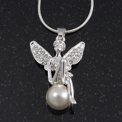 Diamante/ Pearl 'Fairy' Pendant Necklace In Rhodium Plated Metal - 40cm/ 5cm Extension