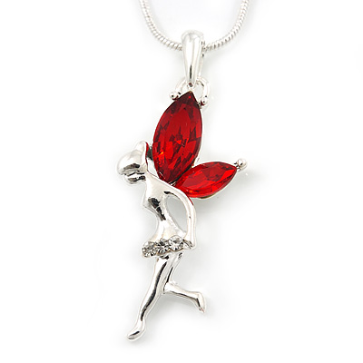 Delicate Garnet Coloured CZ &#039;Fairy&#039; Pendant Necklace In Rhodium Plating - 42cm Length/ 5cm Extension - January Birth Stone
