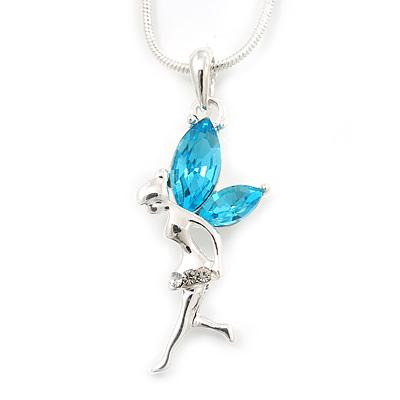 Delicate Aquamarine Coloured CZ 'Fairy' Pendant Necklace In Rhodium Plating - 42cm Length/ 5cm Extension - March Birth Stone
