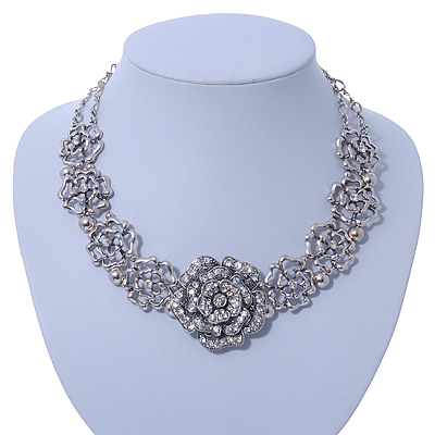 Stunning Vintage Diamante Rose Choker Necklace In Silver Plating - 36cm Length/ 6cm Extension