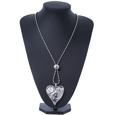Hammered Silver Plated Statement Heart Pendant on Bead Chain - 76cm Long 8cm Extension