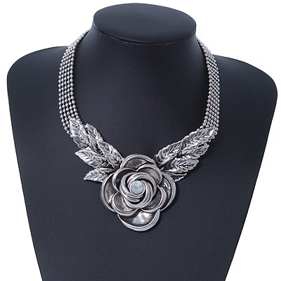 Solid Chunky &#039;Rose With Leaves&#039; Choker Necklace In Rhodium Plating - 36cm Length