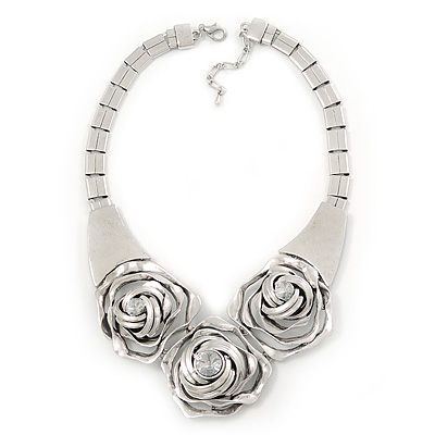 Chunky Triple Rose Ethnic Necklace In Rhodium Plating - 42cm Length/ 7cm Extender - main view