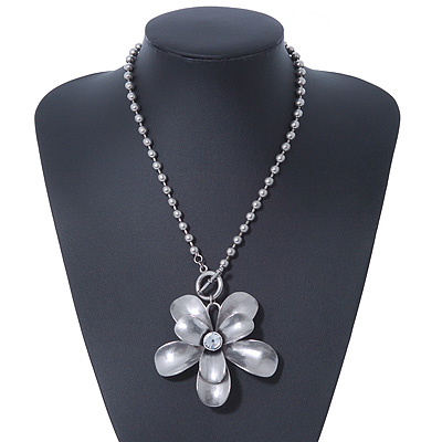 Large Chunky &#039;Flower&#039; Pendant Metal Bead Chain Necklace With T-Bar Closure - 46cm Length