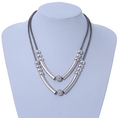 Two Row Bead & Tunnel On Mesh Chain Necklace In Burn Silver Metal - 44cm Length/ 6cm Extension