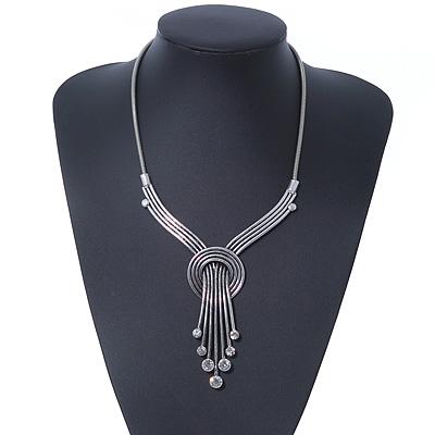Vintage Burn Silver Diamante 'Knot' Necklace - 42cm Length/ 6cm Extender