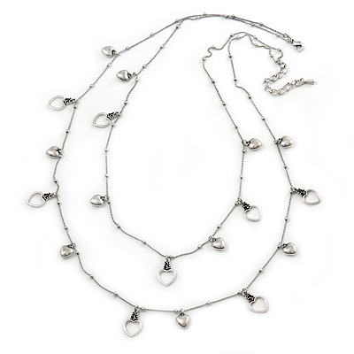 Long 2 Strand Heart Necklace In Silver Tone Metal - 90cm L/ 7cm Ext