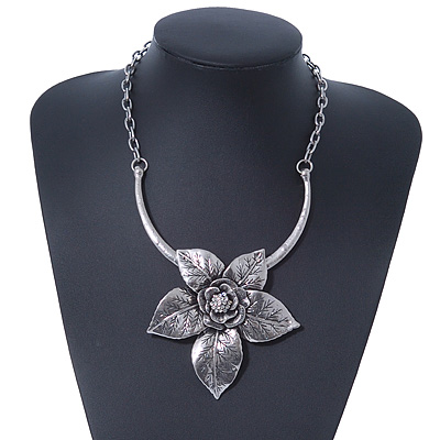 Large Textured &#039;Flower&#039; Pendant Ethnic Necklace In Burn Silver Metal - 38cm Length/ 6cm Extender