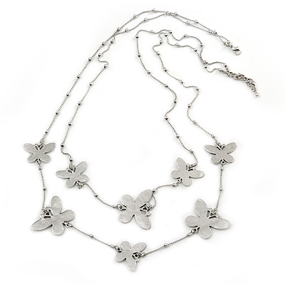 Long 2-Strand, Layered Butterfly Necklace In Silver Tone - 100cm L/ 5cm Ext