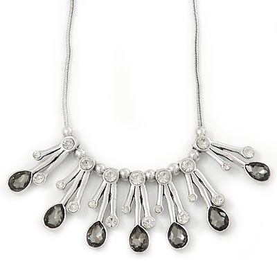 Clear/Grey Glass Crystal Drops Ethnic Necklace In Rhodium Plating - 38cm Length/ 7cm Extension