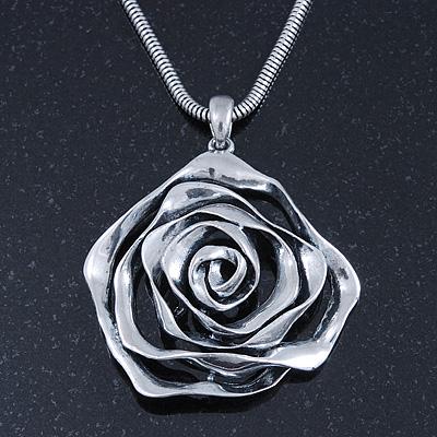 Rhodium Plated Open Rose Pendant Necklace - 42cm Length/ 6cm Extender