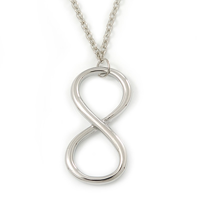 Polished Rhodium Plated 'Infinity' Pendant Necklace - 44cm Length/ 7cm Extension