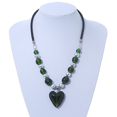 Dark Green Glass &#039;Heart&#039; Pendant Necklace On Black Leather Style Cord - 50cm Length