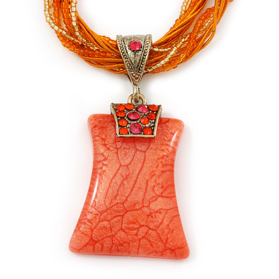 Vintage Bead Orange Square Glass Pendant Necklace In Antique Gold Metal - 38cm Length/ 5cm Extender