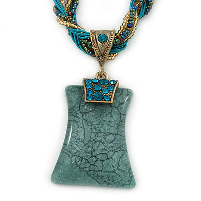 Vintage Bead Malachite Green Square Glass Pendant Necklace In Antique Gold Metal - 38cm Length/ 5cm Extender