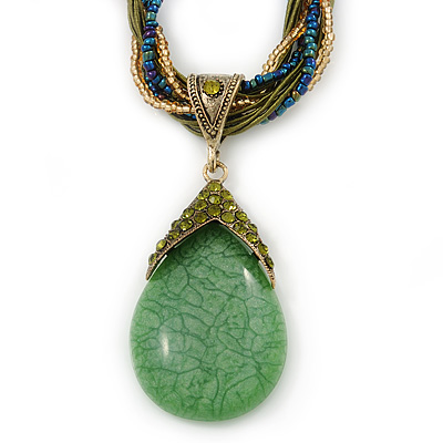 Vintage Bead Light Green Teardrop Glass Pendant Necklace In Antique Gold Metal - 38cm Length/ 5cm Extender