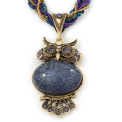 Vintage Bead &#039;Purple Owl&#039; Pendant Necklace In Antique Gold Metal - 38cm Length/ 5cm Extender