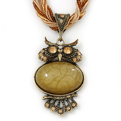 Vintage Bead 'Gold Owl' Pendant Necklace In Antique Gold Metal - 38cm Length/ 5cm Extender