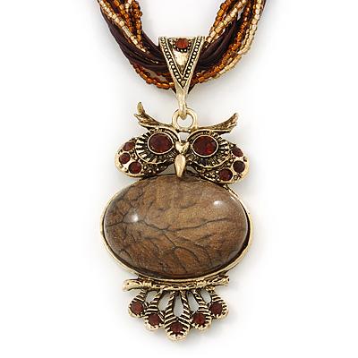 Vintage Bead 'Brown Owl' Pendant Necklace In Antique Gold Metal - 38cm Length/ 5cm Extender