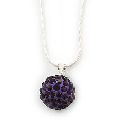 Deep Purple Crystal Ball Pendant On Silver Tone Snake Style Chain - 40cm Length/ 4cm Extention